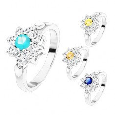 Inel argintiu, floare din zirconii cu mijloc colorat, frunze - Inel aur, Culoare: Galben