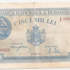 ROMANIA 5000 LEI 22 AUGUST 1944 XF - Bancnota romaneasca