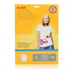Hartie transfer termic Kodak 5 coli A4 pentru textile albe - Hartie foto imprimanta