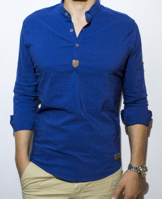 Camasa albastra - camasa alba - camasa slim fit - camasa elastica - cod 30 foto