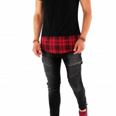 Tricou negru - asimetric - tricou barbati - COLECTIE NOUA - 8599 P11-3, Marime: L, Culoare: Din imagine, Maneca scurta