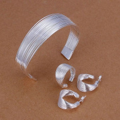 Set bijuterii placat argint 925 cercei dama ,bratara,inel poze reale