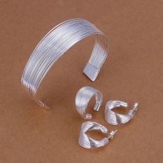 Set bijuterii placat argint 925 cercei dama, bratara, inel poze reale - Set bijuterii argint