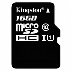 Card Kingston 16GB microSDHC clasa 10 UHS-1 45mb/s + adaptor SD