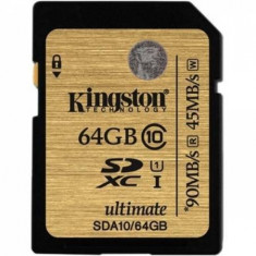Card Kingston SDXC Ultimate 64GB Class 10 UHS-I 90MB/s read 45MB/s write Flash Card