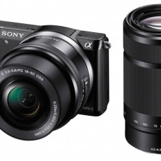 Aparat foto mirrorless Sony Alpha A5000 Double zoom lens kit 16-50mm + 55-210mm, Kit (cu obiectiv), 20 Mpx