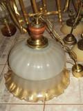 Elegant lampadar antic din sticla de Murano,lemn si elemente
