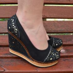 Pantof cazual, de culoare neagra, cu platforma si talpa intreaga (Culoare: NEGRU, Marime: 39) - Pantof dama