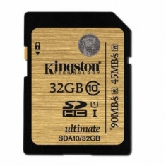 Card Kingston SDHC Ultimate 32GB Class 10 UHS-I 90MB/s read 45MB/s write Flash Card