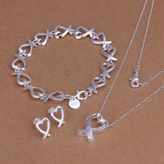 Set bijuterii placat argint 925 cercei dama +lant+pandantiv, bratara poze reale - Set bijuterii argint