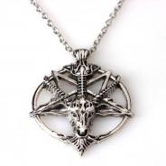 123123Pandantiv Medalion Lantisor pentagrama  pentagrama intoarsa