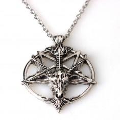 Pandantiv Medalion Lantisor pentagrama  pentagrama intoarsa