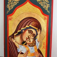 Icoana pictata pe lemn - Maica Domnului cu Sfantul Prunc Iisus in brate #427 - Icoana pe lemn