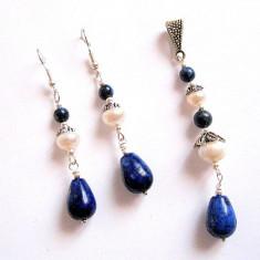 set lapis lazuli si perle naturale 23858