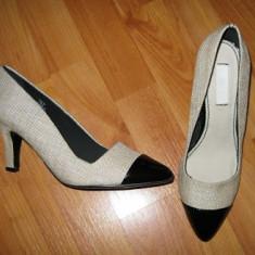 Pantofi H&M - Pantof dama H&m, Culoare: Bej, Marime: 39, Cu toc