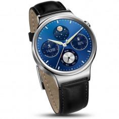 Smartwatch Huawei Watch W1 Steel Silver Black 42MM Leather Strap