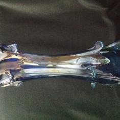 Vaza vintage sticla albastra cu finisaj metalic - Vaza sticla