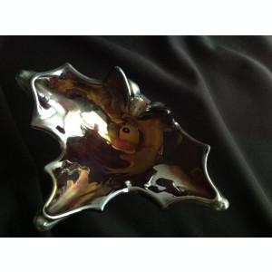 Scrumiera din sticla vintage visiniu metalizat