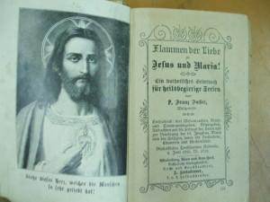 Carte de rugaciuni catolica 1895 P. Franz Facher Flammen der Liebe Jesus Maria
