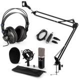 Auna CM003, set de microfon, USB convertor, kit de microfon condensator V3 + braț de microfon, căști, culoare neagră