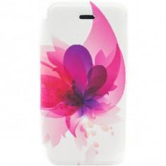 Husa Flip Cover Tellur pentru telefon iPhone 5/5S/5SE Pink flower - Husa Telefon