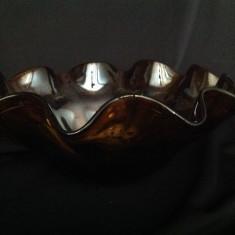 Fructiera mare din sticla  visiniu metalic
