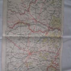 TIMISOARA-ARAD = 1928- HARTA LITOGRAFIATA IN CONFORMITATE CU NOUA IMPARTIRE