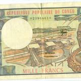 CONGO Republica Populara - Congo Francez-  1000 francs 1983 VF rara P-3e