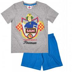Pijama de vara Pompierul Sam gri/albastru