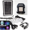 KIT FOTOVOLTAIC PANOU SOLAR,ACUMULATOR,LANTERNA,4 BECURI LED,MP3 USB,RADIO.NOU