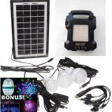 KIT FOTOVOLTAIC PANOU SOLAR, ACUMULATOR, LANTERNA, 4 BECURI LED, MP3 USB, RADIO.NOU