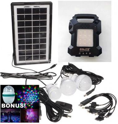 KIT FOTOVOLTAIC PANOU SOLAR,ACUMULATOR,LANTERNA,4 BECURI LED,MP3 USB,RADIO.NOU foto