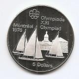 Canada 5 Dolari 1973  - Sailboats, Argint 24.3g/925, Proff  KM-84 UNC !!!, America de Nord