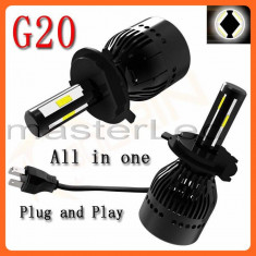 Set 2 becuri H4 LED - 40W 4000 lumeni/bec, CANBUS, 6000K - Led auto BOORIN, Universal