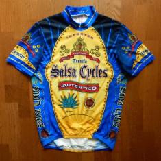 Tricou ciclism Salsa Cycles Ride&Smile Premium Made in USA; L, vezi dim.; ca nou - Echipament Ciclism