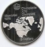 Canada 5 Dolari 1973 Map of North America, Argint 24.3g/925, Proff KM-85 UNC !!!, America de Nord