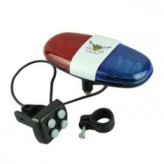 Alarma - Sonerie Bicicleta 4 melodii - 6 LED - Accesoriu Bicicleta