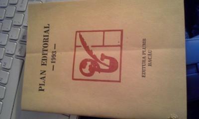 PLAN EDITORIAL 1993 EDITURA ''PLUMB''BACAU foto