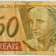 BRAZILIA 50 reais ND anii 2000 stare slaba valoare valuta 62 lei - bancnota america, An: 2005