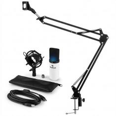 Auna MIC-900WH-LED, set de microfon USB, kit de microfon condensator V3 + braț de microfon LED, alb