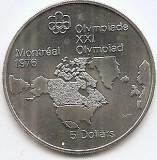 Canada 5 Dolari 1973 - Map of North America, Argint 24.3g/925, KM-85 UNC !!!, America de Nord