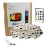 Banda led adeziva decorativa USB cu telecomanda LED SMD si protectie apa 2M