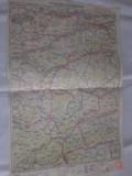 SIBIU-SIGHISOARA- 1927- HARTA LITOGRAFIATA IN CONFORMITATE CU NOUA IMPARTIRE