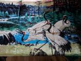 Carpeta plusata China,NOUA,cu pasari Egrete
