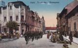 LUGOJ STRADA COROANEI PALATUL POPORUL  PLUTON DE SOLDATI  PIATA  CIRCULATA 1918, Printata