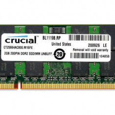 Memorie laptop Crucial 2GB DDR2 800MHz CL6