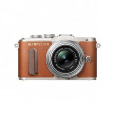 Aparat foto Mirrorless Olympus E-PL8 16 Mpx Brown Kit 14-42mm Pancake