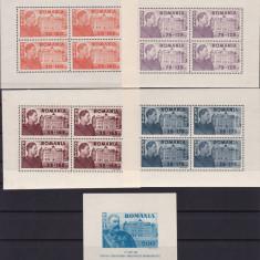 ROMANIA 1945 LP 166 a LP 167 FUNDATIA CAROL I BLOCURI DE 4 SI COLITA MNH - Timbre Romania, Nestampilat