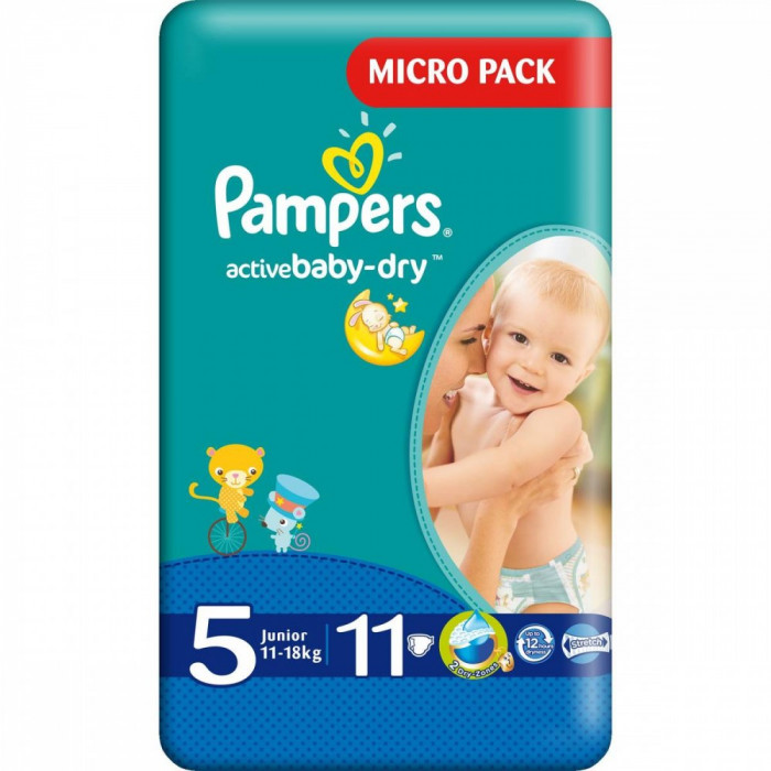 Scutece PAMPERS Active Baby 5 Junior Small Pack 11 buc foto mare
