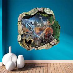 Sticker/autocolant perete 3D Camera Copilului dinozaur 50x50cm
